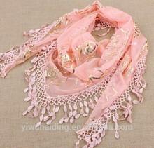 Lace Metallic Rose Pink Scarf Shawl Cowl Triangle Sheer Lightweight