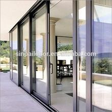 aluminum multi track glazed glass sliding door