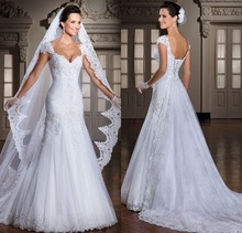 2015 Latest Sweetheart Cap Sleeve Pleated Tulle Lace applique Mermaid Wedding Dress With Detachable Train