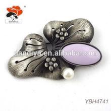graceful pearl purple resin vintage dark alloy engraved lotus leaf brooch