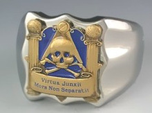 Fashion Gold Plated and Enamel Mens Masonic Rings skull ring