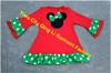 Custom Boutique Christmas Comfy Knit Dress Red Green Polka Dots Girls Christmas Cotton Dresses