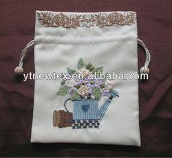 2014 new fabric ribbon tie drawstring gift bag