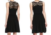 Sleeveless Open-Yoke Fit-and-Flare Knit Midi Dress Cut Out Yoke