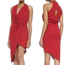 Sleeveless Jersey Draped-Neck Wrapped Dress Asymmetric Hem