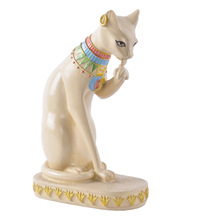 Resin sand stone milk white Egypt style cat statue for home garden decoration novelty household crafts 12006AW