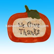 Ceramic Pumpkin Plate Halloween Thanksgiving Plate