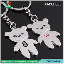 Fashion free samples metal personalized couple teddy bear keychain