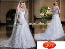2014 custom make lace long sleeves princess wedding dress wedding gown OLW1502