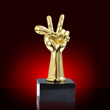 Golden plating trophy song of voice metal replica trophy