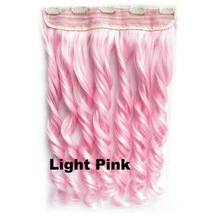 """Pcs/Lot New Long 24""""/60cm Baby Pink Synthetic Hair One Piece Clip On Hair curly Hair Extensions"""