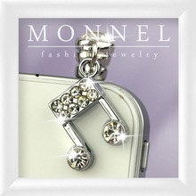 ip129-1 Monnel 2015 Fashion Silver Crystal Music Note Alloy Charm 3.5mm Mobile Phone Dust Proof Stopper