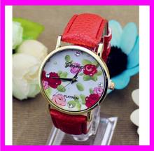 JC3275 Modern red geneva quartz watches flower decorative