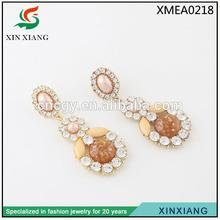 2014 sun flower wholesale rhinestone women metal acrylic latest trends earrings
