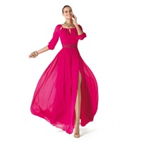 A-Line Scoop Beading Split Front Fuchsia chiffon long sleeve long dress