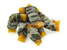Pet foods fish skin and sweet potato wraps