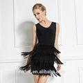noir u cou élégant robe bandage avec gland belle conception de style robe de danse latine