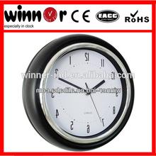 9 inch Plastic round basic dome black wall clock