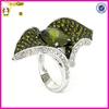 Elegant Sterling Silver Cocktail Ring Olivine & White CZs