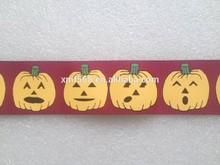 Pumpkin printed ribbon for Halloween decoration