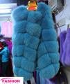 De alta calidad de piel de zorro azul abrigos& la última de las mujeres de moda de zorro azul ropa
