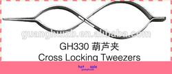 Manufacture hot sell cross locking tweezers