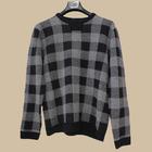 2014 fashion men winter knit wear round-neck sweater /pullover /check pattern