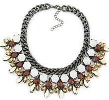 Gunmetal rude chain collar fashion crystal flower collar