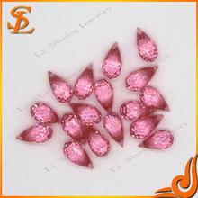 Wholesale cubic zirconia drop shape pink aaa grade gemstone beads