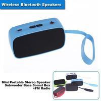 Wireless Bluetooth Speakers Mini Portable Stereo Speaker Subwoofer Bass Sound Box +FM Radio