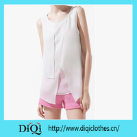 White Sleeveless Polyester Chiffon French Style Blouse For Woman 2015