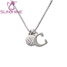 Letter 'G' Mini Enamel Volleyball Initial Charm Necklace