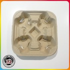 100% biodegradable paper cup holder tray/ coffee carriers for 4