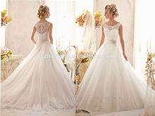 Ball gown crew organza floor length lace&flower sleeveless backless new model 2014 wedding dress chinese wedding dress