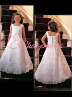 White Pageant dresses for little girls Pretty Lace qppliques kids wear wholesale flower girl dresses for wedding