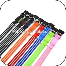 High Quality Colorful 100% Nylon Webbing Illuminated Medium Dog Collars