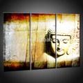 moderno buda arte pintura al óleo lienzo abstracto de oro pintado a mano 3 panel