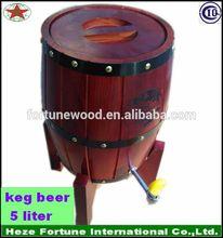pine wood with stainless steel liner keg beer 5 liter