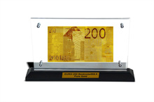 Gold Arts And Crafts 200 Euro 24K Gold Plated Banknote In Acrylic Slab Holder