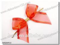 Red sheer ribbon bows with satin ribbon edge