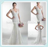 New arrive Custom made dress factory V neck Lace mermaid covered back wedding dresses