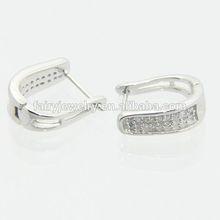 925 silver smaill hoop AAA white zircon many samll CZ hoops fine earrings