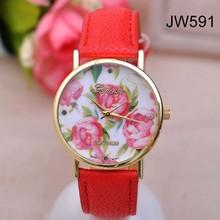 2014 New 2014 new fashion leather roses geneva watch women look stylish dress quartz watch orologio yes polso