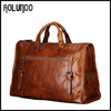 Vintage style men business cowhide traveling bag
