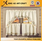 ready made rosin floral curtain embroidery design kitchen 3 sets