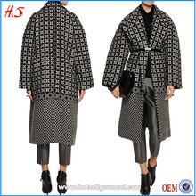 Oversized wool-blend tweed coat korea style long woolen coat japanese happi coat
