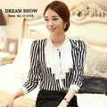 transporte gratuito de blusas feminina de outono chegada nova 2014 coreano moda estilo preto e branco listrado ol patchwork trabalho camisa desgaste 8016