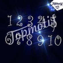 NUMBERS Arabic numerals hotfix rhinestones motif heat transfer iron on patch garment accessory