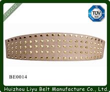 Wide Metal Rivet Elastic Belt for Lady