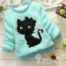 HFR-R-495 Children fashion clothing girls super warm cute kitten pattern fleece pullover hoodies